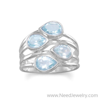 Pear Blue Topaz Ring-Rings-Needjewelry.com