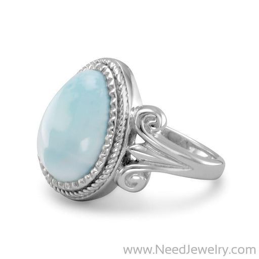 Pear Shape Larimar Ring-Rings-Needjewelry.com