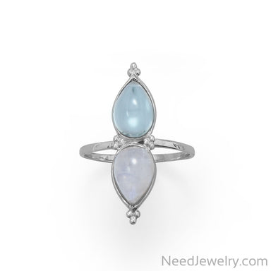 Item # [sku} - Pear Shaped Rainbow Moonstone and Blue Topaz Ring on NeedJewelry.com