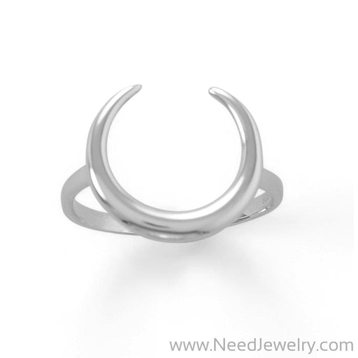 Polished Crescent Moon Ring-Rings-Needjewelry.com