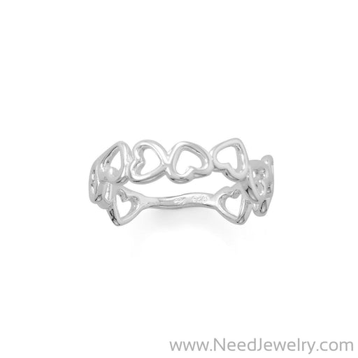 Polished Cutout Hearts Ring-Rings-Needjewelry.com
