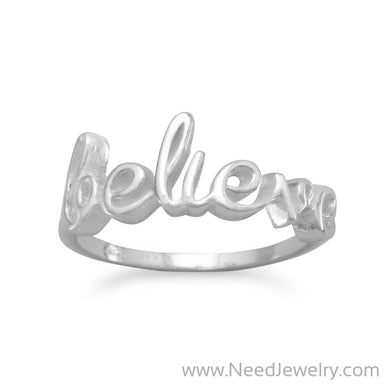 "Polished Script ""believe"" Ring-Rings-Needjewelry.com"