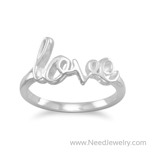 "Polished Script ""love"" Ring-Rings-Needjewelry.com"