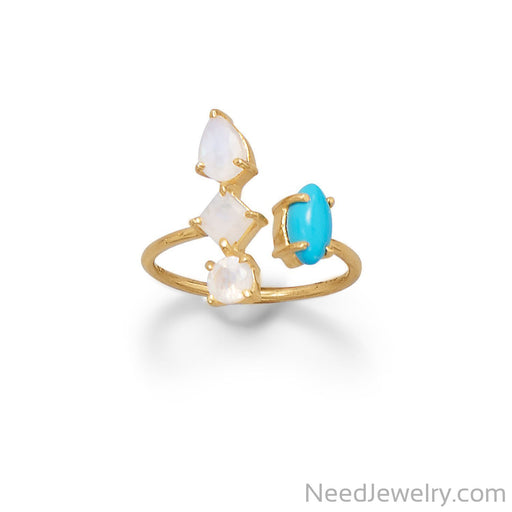 Item # [sku} - Rainbow Moonstone and Synthetic Turnquoise Wrap Ring on NeedJewelry.com