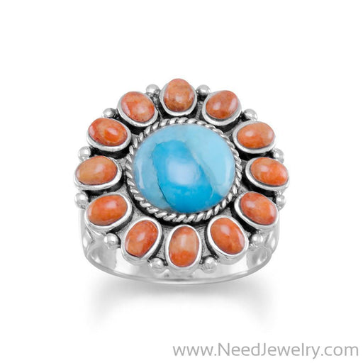 Reconstituted Turquoise and Coral Sunburst Ring-Rings-Needjewelry.com