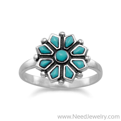 Reconstituted Turquoise Flower Ring-Rings-Needjewelry.com