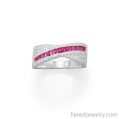 Item # [sku} - Red CZ Overlapping Ring on NeedJewelry.com