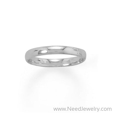 Rhodium Plated 3mm Band-Rings-Needjewelry.com