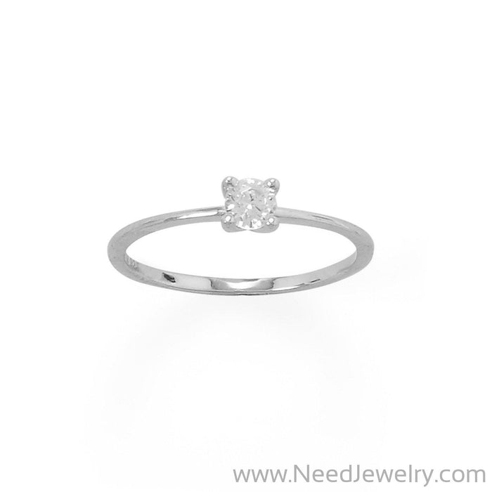 Rhodium Plated 4mm CZ Band-Rings-Needjewelry.com