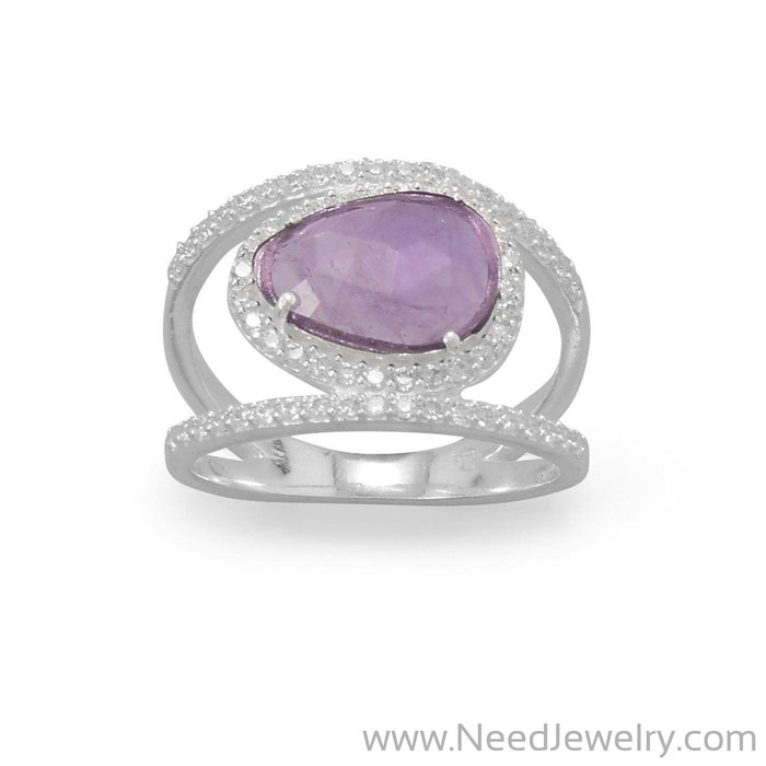 Rhodium Plated Amethyst and CZ Split Band Ring-Rings-Needjewelry.com