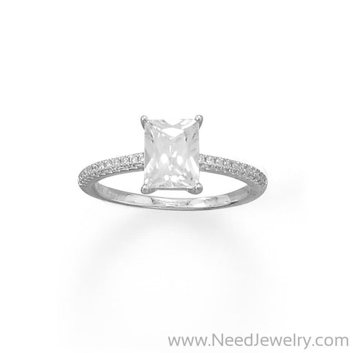 Rhodium Plated Baguette Cut CZ Ring with CZ Band-Rings-Needjewelry.com