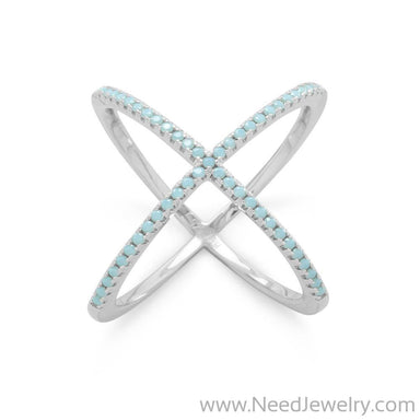 Rhodium Plated Criss Cross 'X' Ring with Blue CZs-Rings-Needjewelry.com