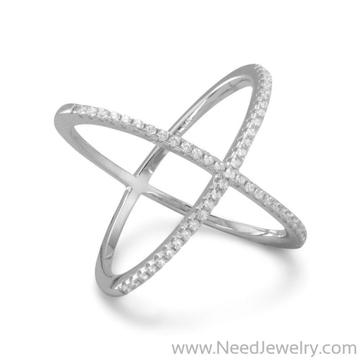 Rhodium Plated Criss Cross 'X' Ring with Signity CZs-Rings-Needjewelry.com