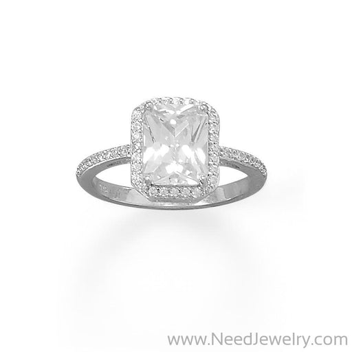 Rhodium Plated Cushion CZ Ring with CZ Edge-Rings-Needjewelry.com