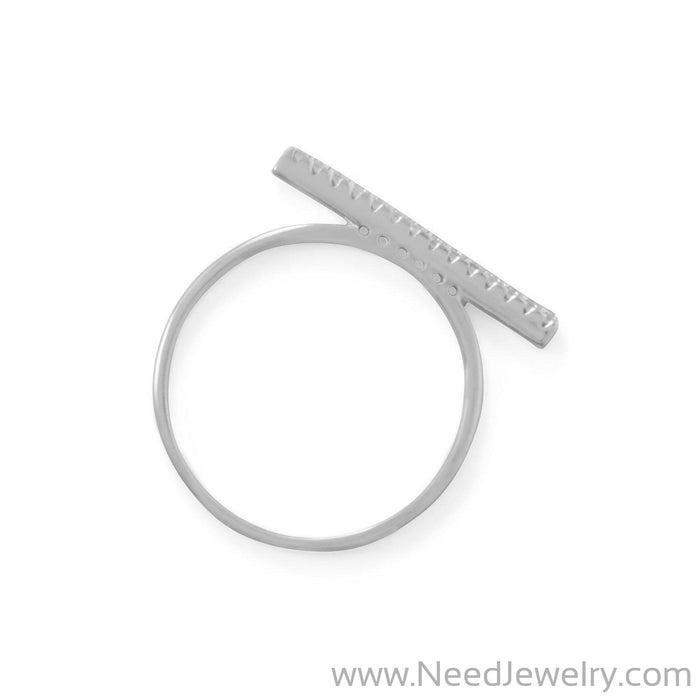 Rhodium Plated CZ Bar Ring-Rings-Needjewelry.com