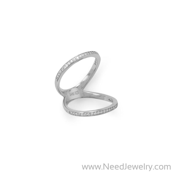 Rhodium Plated CZ Double Band Knuckle Ring-Rings-Needjewelry.com