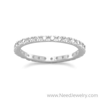 Rhodium Plated CZ Eternity Band-Rings-Needjewelry.com
