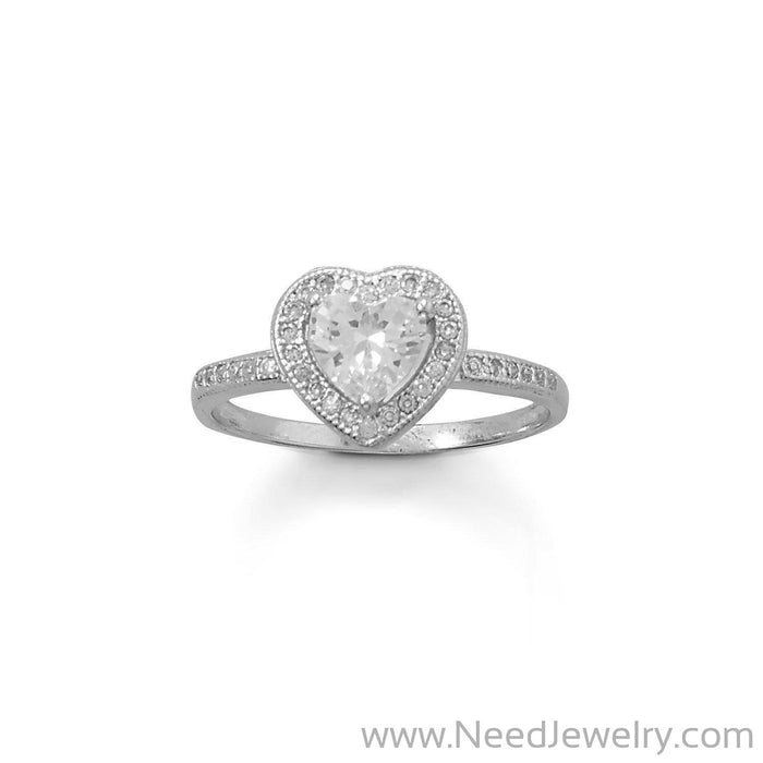 Rhodium Plated CZ Heart Ring-Rings-Needjewelry.com