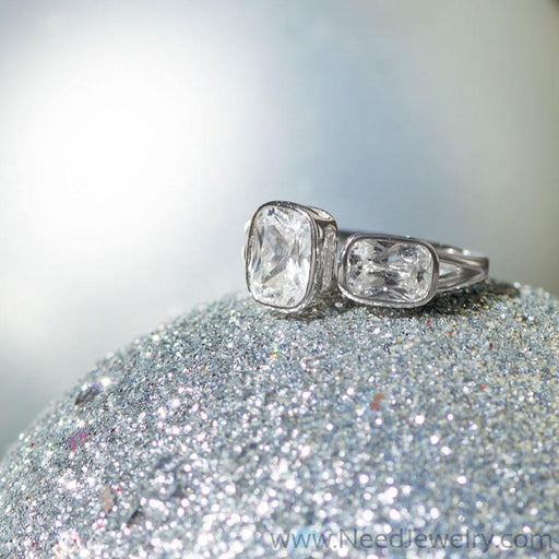 Rhodium Plated CZ Split Design Ring-Rings-Needjewelry.com