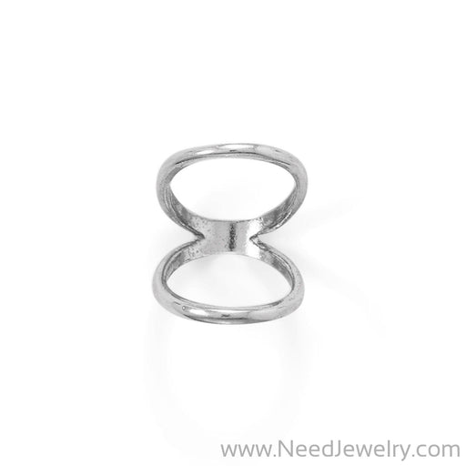 Rhodium Plated Double Band Knuckle Ring-Rings-Needjewelry.com
