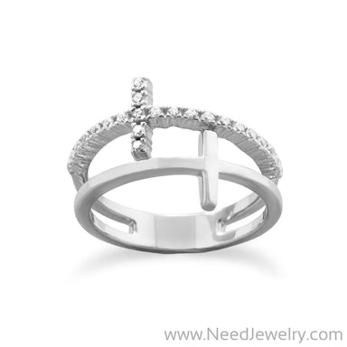 Rhodium Plated Double Cross Ring-Rings-Needjewelry.com
