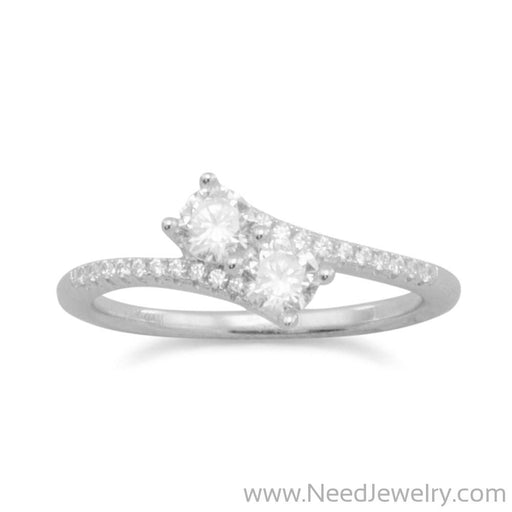 Rhodium Plated Double CZ Ring with CZ Band-Rings-Needjewelry.com