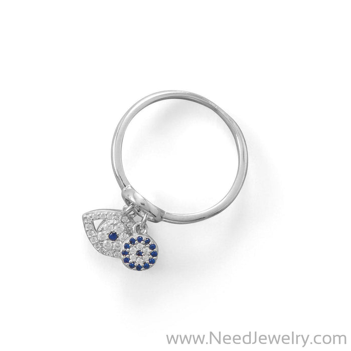 Rhodium Plated Evil Eye Charm Ring-Rings-Needjewelry.com