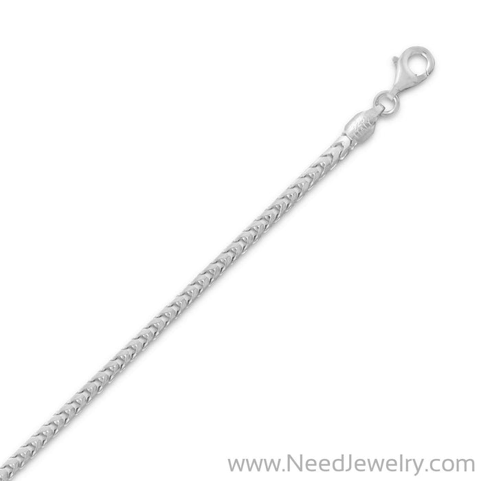 Rhodium Plated Franco Chain Necklace (2.4mm)-Chains-Needjewelry.com