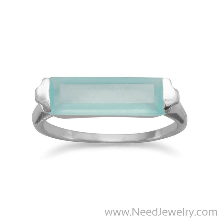 Rhodium Plated Green Chalcedony Bar Ring-Rings-Needjewelry.com