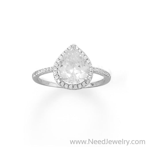Rhodium Plated Pear CZ Ring with CZ Edge-Rings-Needjewelry.com