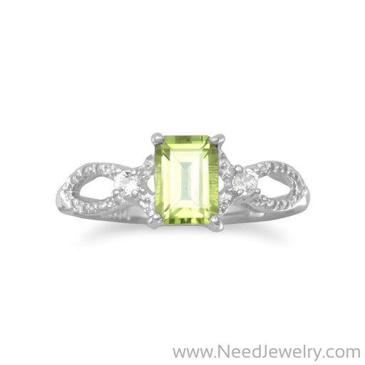 Rhodium Plated Peridot and White Topaz Ring-Rings-Needjewelry.com