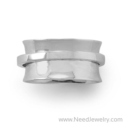 Rhodium Plated Polished Spin Ring-Rings-Needjewelry.com