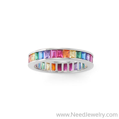Rhodium Plated Rainbow CZ Ring-Rings-Needjewelry.com