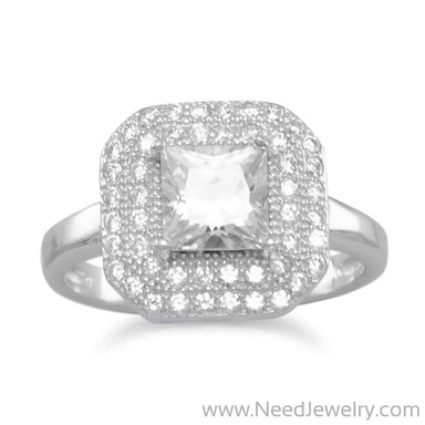 Rhodium Plated Ring with Square CZ-Rings-Needjewelry.com