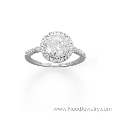 Rhodium Plated Round CZ Ring with CZ Edge-Rings-Needjewelry.com