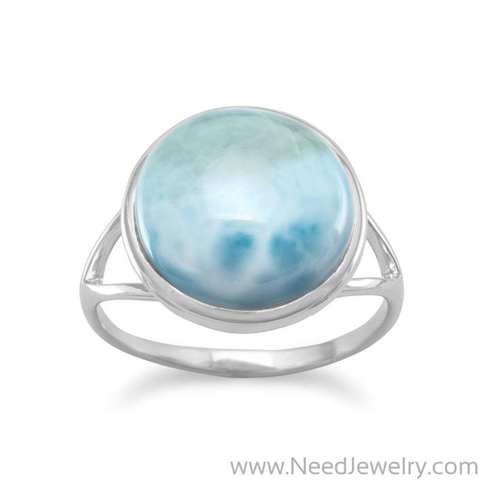 Rhodium Plated Round Larimar Ring-Rings-Needjewelry.com