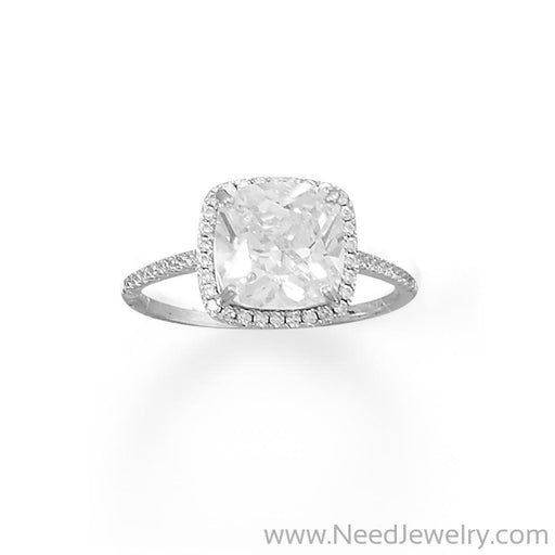 Rhodium Plated Square CZ Ring with CZ Edge-Rings-Needjewelry.com