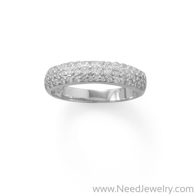 Rhodium Plated Three Row Domed CZ Ring-Rings-Needjewelry.com