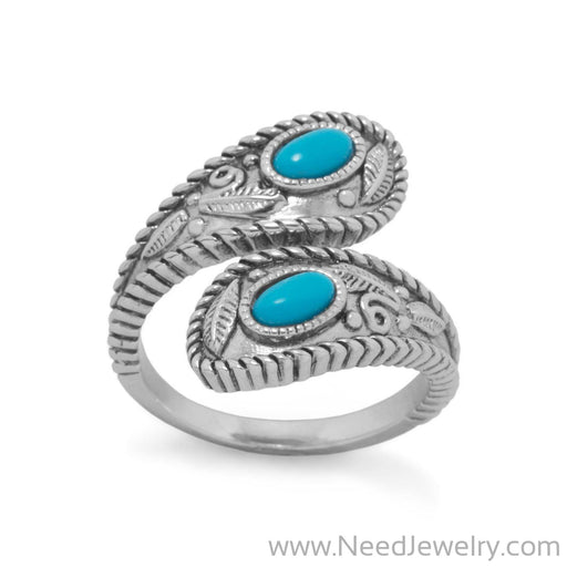 Rhodium Plated Turquoise Wrap Ring-Rings-Needjewelry.com