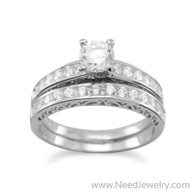 Rhodium Plated Wedding Band Set-Rings-Needjewelry.com