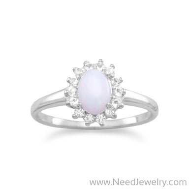 Rhodium Plated White Topaz and Australian Opal Ring-Rings-Needjewelry.com