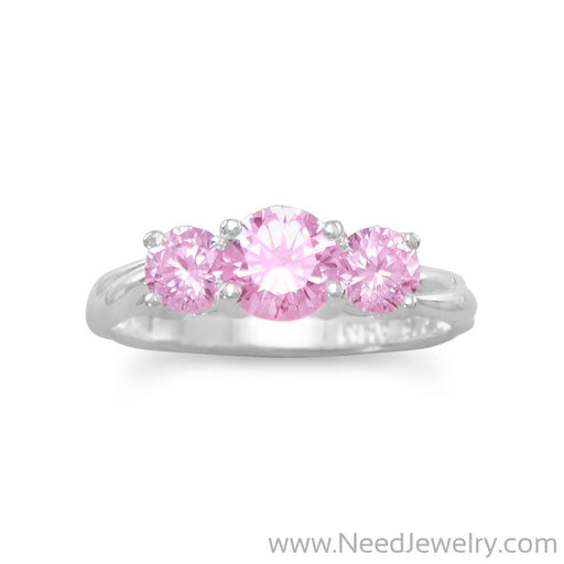 Ring with 3 Pink CZs-Rings-Needjewelry.com