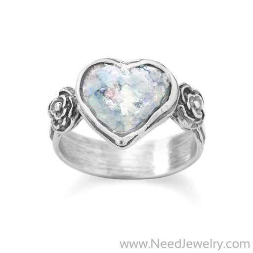Roman Glass Heart Ring-Rings-Needjewelry.com