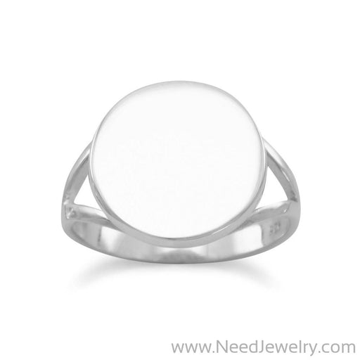 "Round Engravable Ring with ""V"" Band-Rings-Needjewelry.com"