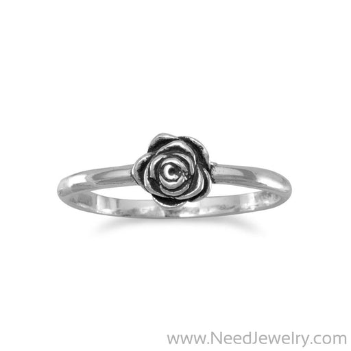 Small Oxidized Rose Ring-Rings-Needjewelry.com