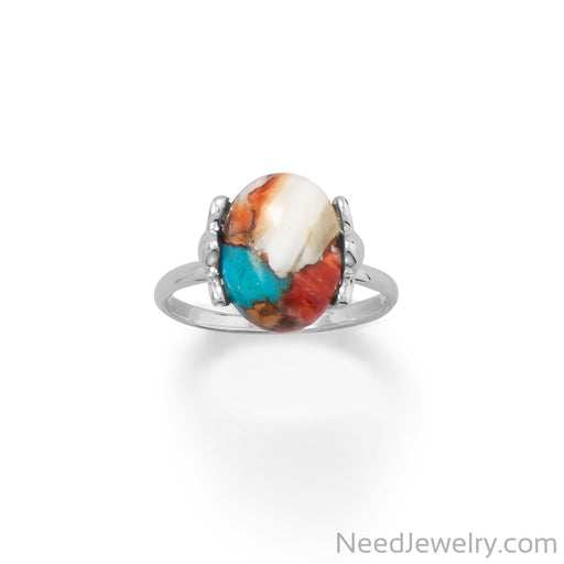 Item # [sku} - Spiny Oyster and Turquoise Ring on NeedJewelry.com
