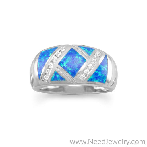 Synthetic Blue Opal and CZ Ring-Rings-Needjewelry.com