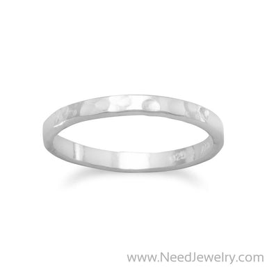 Thin Hammered Band Midi Ring-Rings-Needjewelry.com