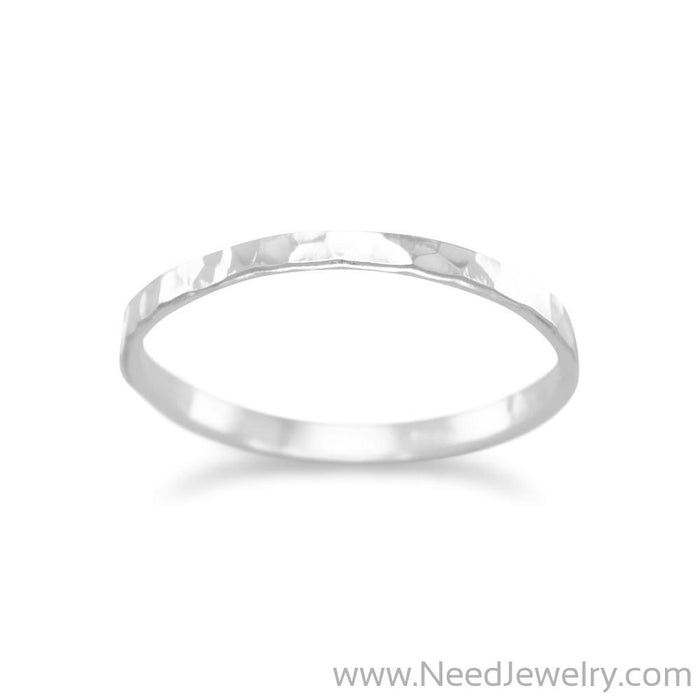 Thin Polished Hammered Band-Rings-Needjewelry.com