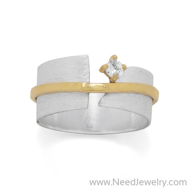 Two Tone Art Deco CZ Ring-Rings-Needjewelry.com